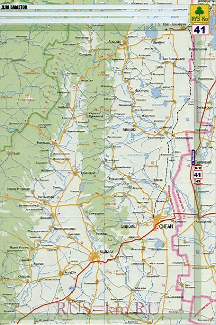 Карта дорог Сибай. Подробная