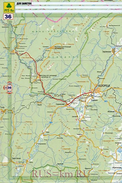 Карта дорог Белорецка.