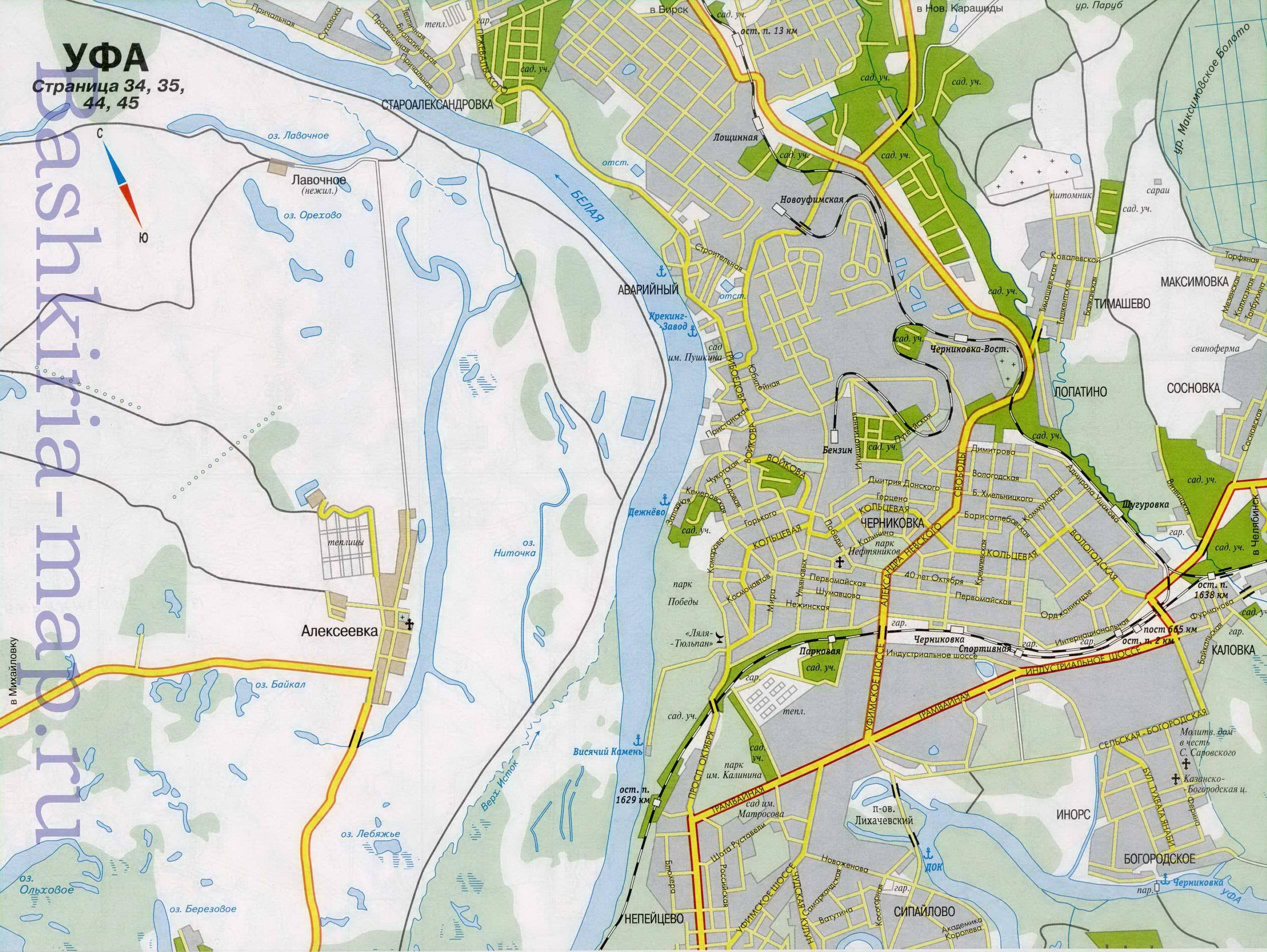 Карта схема Уфы.  Подробная карта автодорог города Уфа.